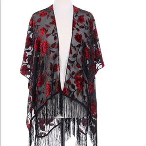 ❤️🥀🥀FLORAL PRINT SHEER COVER UP  PONCHO